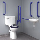 Inta Standard Doc M Pack with 6L Close Coupled Disabled Toilet & Mixing Valve - Blue