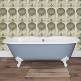 Jig Bisley Cast Iron Roll Top Bath including White Feet - 0 Tap Hole