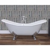 Jig Banburgh Large Cast Iron Roll Top Slipper Bath including White Feet - 2 Tap Hole