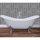 Hurlingham Banburgh Large Cast Iron Roll Top Slipper Bath including Chrome Feet - 0 Tap Hole