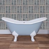 Jig Banburgh Small Cast Iron Roll Top Slipper Bath including White Feet - 2 Tap Hole