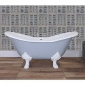 Jig Banburgh Small Cast Iron Roll Top Slipper Bath including White Feet - 0 Tap Hole