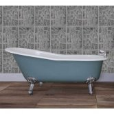 Jig Beaulieu Cast Iron Roll Top Slipper Bath including White Feet - 2 Tap Hole