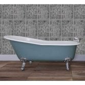 Jig Beaulieu Cast Iron Roll Top Slipper Bath including Chrome Feet - 2 Tap Hole