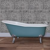 Jig Beaulieu Cast Iron Roll Top Slipper Bath including Chrome Feet - 0 Tap Hole