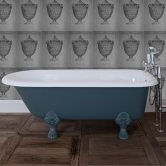 Jig Cambridge Cast Iron Roll Top Bath including White Feet - 0 Tap Hole