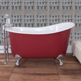 Jig Lyon Cast Iron Roll Top Slipper Bath including Chrome Feet - 0 Tap Hole