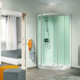 Kinedo Kineprime Quadrant Pivot Glass Shower Cubicle 800mm x 800mm Self-Contained