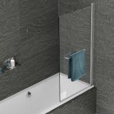Kudos Inspire Single Panel Bath Screen with Rail 1500mm H x 850mm W - 6mm Glass