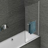 Kudos Inspire Single Panel Bath Screen with Rail 1500mm H x 850mm W - 8mm Glass
