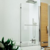 Kudos Inspire L-Shaped Bath Screen with Rail 1500mm H x 810mm W - 5mm Glass