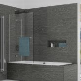 Kudos Inspire Two Panel In-Swing Bath Screen with Rail 1500mm H x 950mm W LH - 6mm Glass