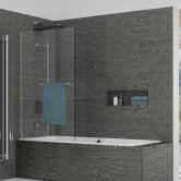 Kudos Inspire Two Panel In-Swing Bath Screen with Rail 1500mm H x 950mm W LH - 8mm Glass