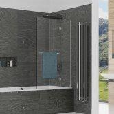 Kudos Inspire Two Panel In-Swing Bath Screen 1500mm H x 950mm W RH - 8mm Glass