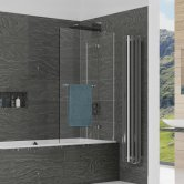 Kudos Inspire Two Panel In-Swing Bath Screen with Rail 1500mm H x 950mm W RH - 8mm Glass