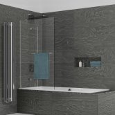 Kudos Inspire Two Panel Out-Swing Bath Screen with Rail 1500mm H x 950mm W LH - 6mm Glass