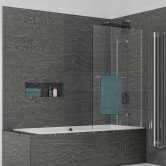 Kudos Inspire Two Panel Out-Swing Bath Screen with Rail 1500mm H x 950mm W RH - 6mm Glass