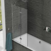 Kudos Inspire Two Panel In-Fold Bath Screen 1500mm H x 875mm W LH - 8mm Glass