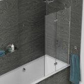 Kudos Inspire Two Panel In-Fold Bath Screen 1500mm H x 875mm W RH - 8mm Glass