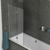 Kudos Inspire Two Panel In-Fold Bath Screen 1500mm H x 875mm W LH - 6mm Glass