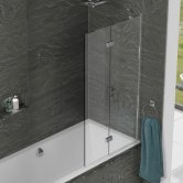 Kudos Inspire Two Panel In-Fold Bath Screen 1500mm H x 875mm W RH - 6mm Glass