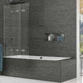 Kudos Inspire Four Panel In-Fold Bath Screen 1500mm H x 950mm W LH - 6mm Glass