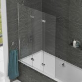 Kudos Inspire Three Panel In-Fold Bath Screen 1500mm H x 1250mm W LH - 6mm Glass