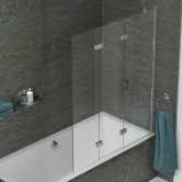 Kudos Inspire Three Panel In-Fold Bath Screen 1500mm H x 1250mm W RH - 6mm Glass
