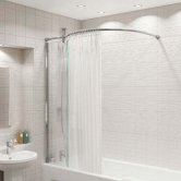 Kudos Inspire Over Bath Shower Panel 1500mm H x 350mm W with Bow Corner Rail - 8mm Glass