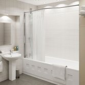 Kudos Inspire Over Bath Shower Panel 1500mm H x 350mm W with Bow Recess Rail - 8mm Glass