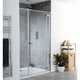 Lakes Cayman Shower Door with In-line Panel 2000mm  H x 1600mm W - 8mm Glass