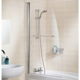 Lakes Classic Single Panel Sculpted Bath Screen with Towel Rail 1400mm H x 860mm W - 6mm Glass