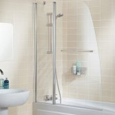 Lakes Classic Double Panel Sculpted Bath Screen with Towel Rail 1400mm H x 1175mm W - 6mm Glass