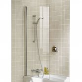 Lakes Classic Single Panel Square Bath Screen 1500mm H x 800mm W - 6mm Glass