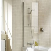Lakes Classic Single Panel Square Bath Screen with Towel Rail 1500mm H x 800mm W - 6mm Glass
