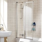 Lakes Classic Double Panel Silver Framed Bath Screen 1400mm H x 950mm W - 4mm Glass