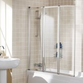 Lakes Classic Triple Panel White Framed Bath Screen 1400mm H x 1390mm W - 4mm Glass