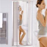 Lakes Classic Mirror Semi Frameless Pivot Shower Door 1850mm H x 700mm W - Mirror Finish