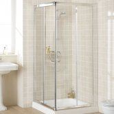 Lakes Classic Semi Frameless Corner Entry Shower Enclosure 1850mm H x 900mm W - Silver