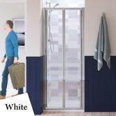 Lakes Classic Semi Frameless Bi-Fold Shower Door 1850mm H x 750mm W - White Frame