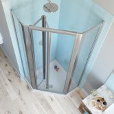 Lakes Classic Bi-Fold Door Pentagonal Shower Enclosure 900mm x 900mm with Shower Tray - Silver