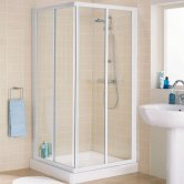 Lakes Classic Corner Entry Shower Enclosure 1850mm H x 800mm W - Silver