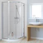 Lakes Classic Single Rail Offset Quadrant Double Sliding Shower Enclosure 900mm W x 800mm D