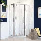 Lakes Classic Pivot Door Semi-Framed Pentagonal Shower Enclosure 900mm x 900mm with Shower Tray - Silver