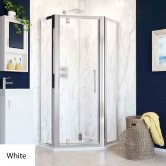 Lakes Classic Pivot Door Semi-Framed Pentagonal Shower Enclosure 900mm x 900mm with Shower Tray - White
