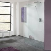 Lakes Coastline Cannes Walk-In Shower Panel 2000mm H x 1200mm W - 10mm Glass