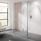 Lakes Coastline Riviera Walk-In Shower Panel 2000mm H x 1350mm W - 8mm Glass