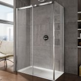 Lakes Italia Luminosa Frameless Sliding Shower Door 2000mm H x 1400mm W - Left Handed