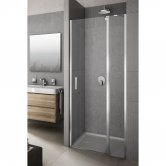 Lakes Italia Vivera Semi Frameless Panel Hinged Pivot Shower Door and In-Line Panel 2000mm H x 1600mm W - Right Handed