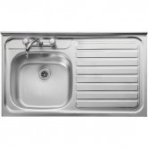 Leisure Contract Roll Front 1.0 Bowl Kitchen Sink RH with Waste 1000mm L x 600mm W Stainless